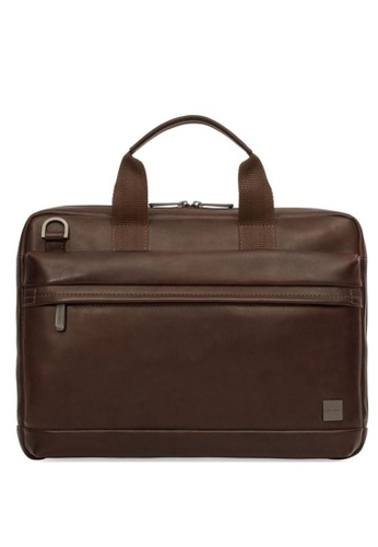 """knomo brown Foster 14"""" Leather Laptop Briefcase (Dark Brown) 5E43CACF862770GS_1"""
