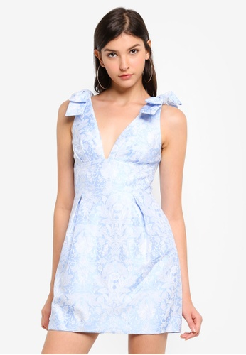 Forever New blue Cady Jacquard Mini Dress 95904AA65F00B9GS_1