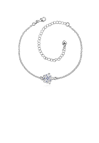 Glamorousky blue Fashion Classic Flower Blue Cubic Zircon Anklet CAEF8AC9F382BCGS_1