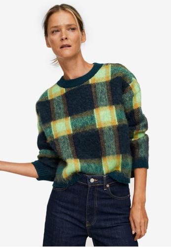 Mango green Textured Checked Sweater C534DAA3163188GS_1