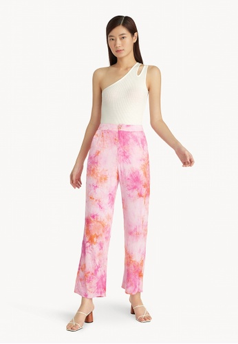Pomelo pink Tie Dye Straight Pants - Pink 410B9AA318A188GS_1