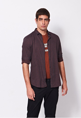 Sisley blue Grid Pattern Shirt. 2728FAAD7AF985GS_1