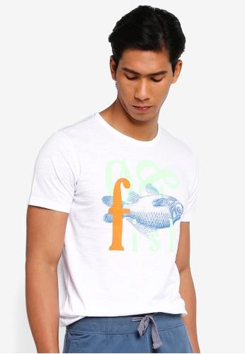 OVS 白色 Fish 印花T恤 DE522AA7CA9FECGS_1