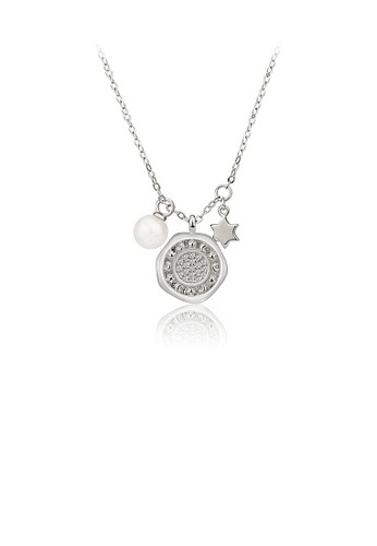 Glamorousky white 925 Sterling Silver Simple Temperament Geometric Star Freshwater Pearl Pendant with Cubic Zirconia and Necklace 185CAACAF636E6GS_1