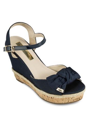Flanderesprit台灣門市s 素色蝴蝶結厚底涼鞋, 女鞋, 楔形涼鞋