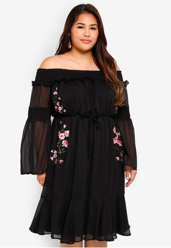 LOST INK PLUS black Plus Size Embroidered Bardot Dress 78DD5AA40C9AFEGS_1