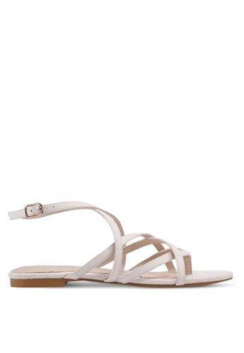 ZALORA beige Strappy Sandals With Ankle Strap 379E8SH0BC3824GS_1