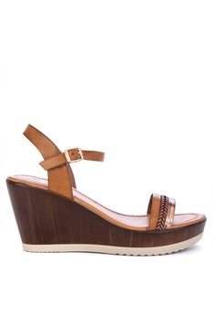 816dca7eb08 CLN brown Mahlah Ankle Strap Wedge Sandals 72733SH4AA9217GS 1