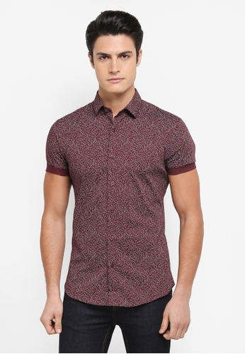 Topman red Short Sleeve Button Down Smart Shirt 565B5AAC638546GS_1