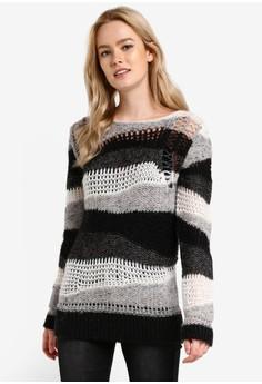 【ZALORA】 不規則織法長版條紋毛衣