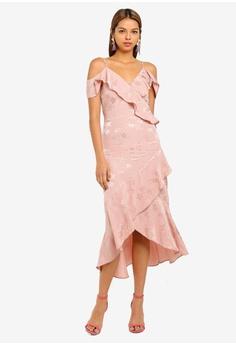 4eca286ad43a Miss Selfridge pink Jacquard Cold Shoulder Dress C8DFFAA230C5D6GS 1
