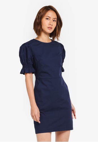 ZALORA navy Scooped Neck Dress 4339AAAD04EBD2GS_1