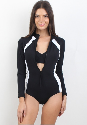 33245d32ab1 Shapes and Curves black Sporty One Piece Rashguard with Bikini Top Swimwear  Set SH408US66XLHPH_1