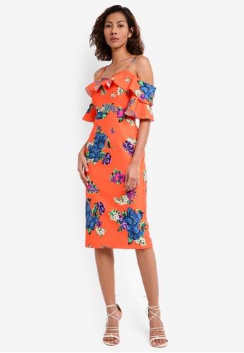 River Island orange Floral Bodycon Dress 83069AAEFA73BFGS_1