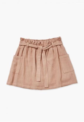 FOREVER 21 brown Line Linen Skirt 99C47KA18907FEGS_1