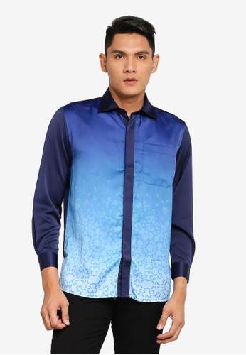 Gene Martino blue Long Sleeve Batik BFC77AA694F3E4GS_1