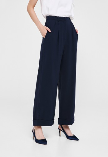 Love, Bonito navy Vivienne Wide Leg Cuffed Pants 8B024AAC651896GS_1