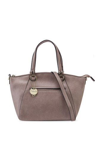 Mel&Co brown Faux Leather Double Handle Bag 62BC1ACFEEE012GS_1