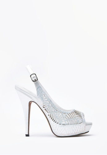 PAZZION silver Laser Cut-out Slingback Heels DCF26SHAF01AACGS_1
