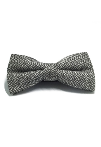 Splice Cufflinks Dolly Series Light Grey Patterned Wool Pre-tied Bow Tie SP744AC04LAHSG_1