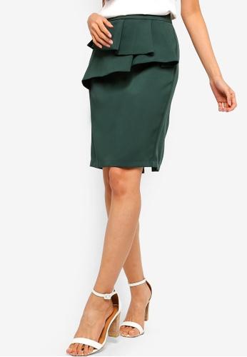 ZALORA green Ruffles Skirt 2EE6DAA4898916GS_1