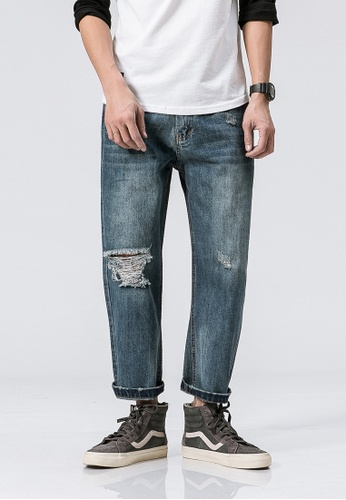 hk-ehunter blue Casual Destory Regular Fit Denim Jeans 3B38BAAF8BE034GS_1