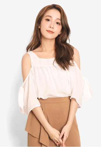 b7d57fbead613 Shop YOCO Square-Neck Cold Shoulder Ruffle Sleeve Top Online on ZALORA  Philippines