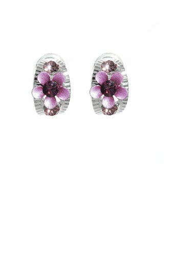 Glamorousky purple Flower on Curved Leaf Earrings with Purple Austrian Element Crystals F2C5AACF4E3F99GS_1