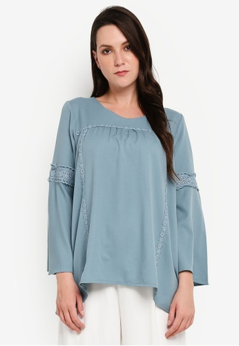 BYN blue Lace Long Sleeve Top BC602AA6DF0EBCGS_1