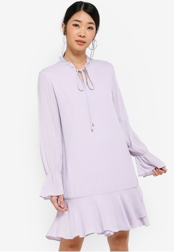 Something Borrowed purple Long Sleeves Fluted Hem Dress 8B081AAF127112GS_1