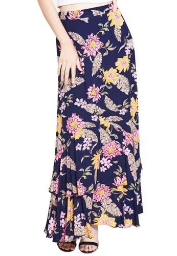 Nichii black Two-Tiered Floral Maxi Skirt 5FCDBAA3B742ECGS_1