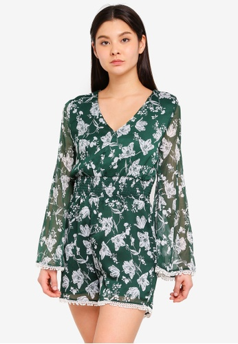 Cotton On green Woven Laurie Long Sleeve V-Neck Playsuit 39177AAFFE2180GS_1