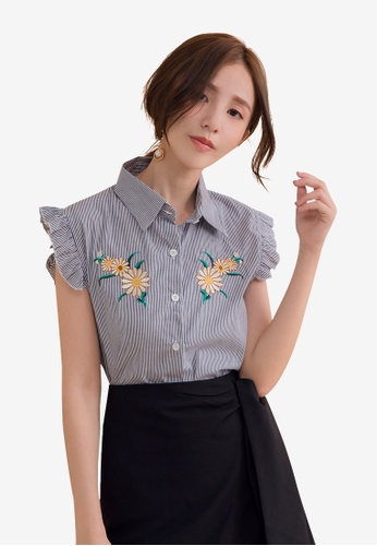 Tokichoi navy Floral Embroidered Striped Top D864CAAA3AC833GS_1