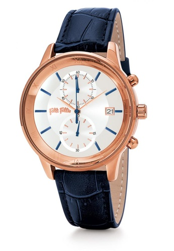 Folli Follie Big Moments Big Case Leather Watch (WF18R005SES)- Blue EA2C7AC464EB9FGS_1