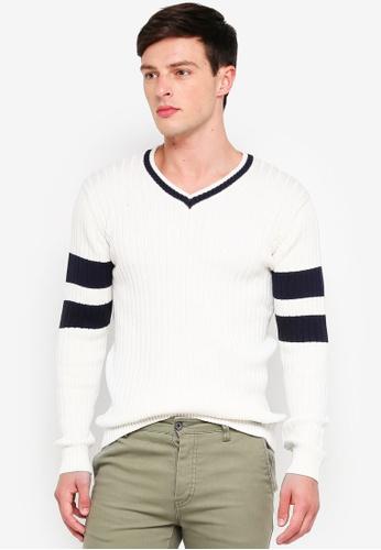 Indicode Jeans 白色 V領針織毛衣 8EA6BAAB465569GS_1