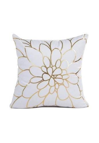DILAS HOME Blossom Gold Print Cushion Cover C2FDAHL0FD7C2BGS_1