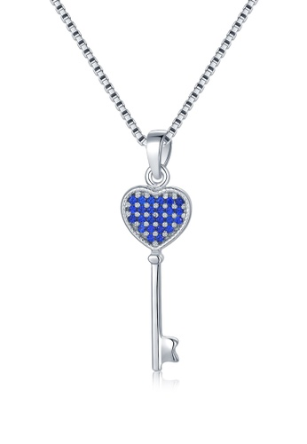 MBLife silver 925 Sterling Silver Blue CZ Key Shaped Necklace E9805AC16BE368GS_1