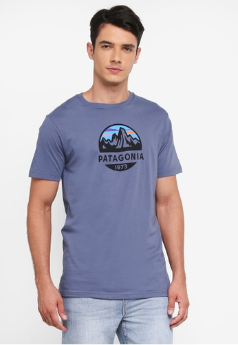 Patagonia blue Fitz Roy Scope Organic T-Shirt PA549AA0SVMJMY_1