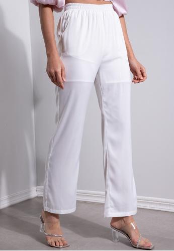 ZALORA OCCASION white Straight Leg Pants F9F8FAA0E02FDBGS_1