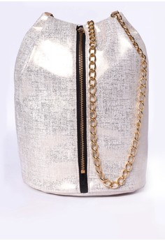 Georgine Metallic White bucket bag
