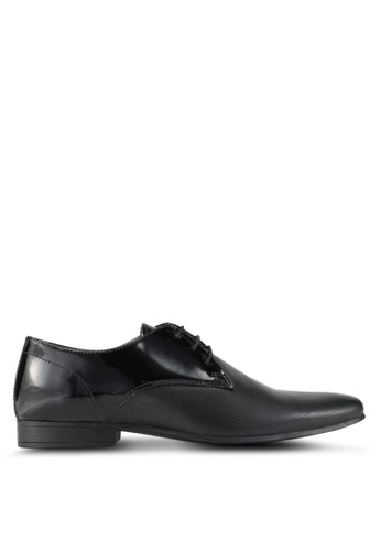 Topman black Patent Derby Shoes TO413SH0T1J7MY_1