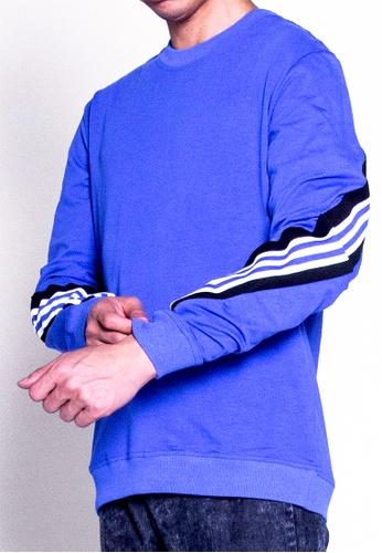 SUB blue Men Long Sleeve Sweatshirt 2BA45AA3F0F52DGS_1