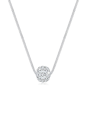 Elli Germany white 925 Sterling Silver Ball Swarovski® Crystal Necklace EL474AC61GSWMY_1