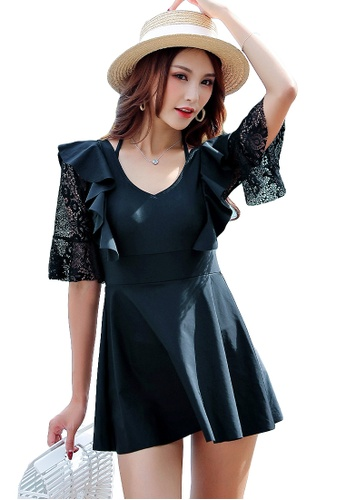 YG Fitness black Lace Stitching Straps One-Piece Swimsuit 52ACEUS9E5B8DFGS_1