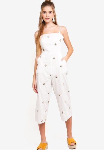 Something Borrowed white Embroidered Cami Jumpsuit 67645AAE1EECA2GS_1
