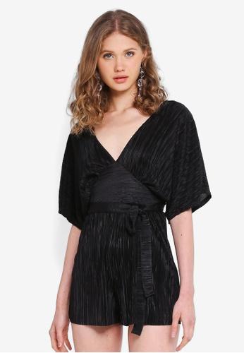 1e5708ca7b8 Miss Selfridge black Petite Black Plisse Kimono Playsuit 1461CAAF8C88A7GS 1