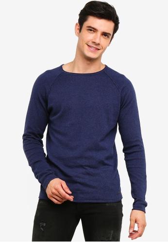 !Solid 海軍藍色 Stamos Mix 絲綢Raglan 針織Sweater 31899AAEF846E0GS_1