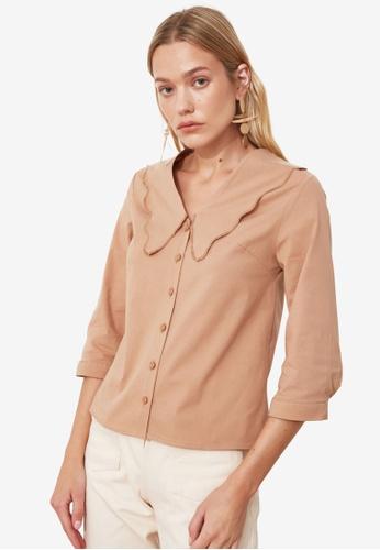 Trendyol beige Scallop Collar Detail Blouse 4414DAAA083ED4GS_1