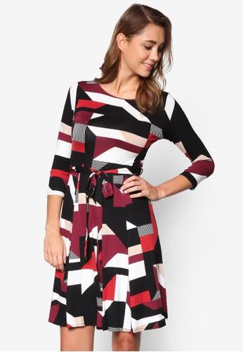 幾何印花繫帶洋裝、 服飾、 洋裝Wallis幾何印花繫帶洋裝最新折價