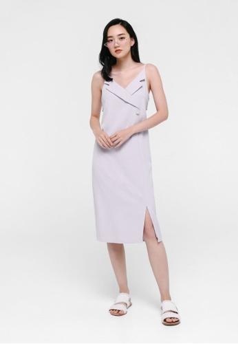 Love, Bonito grey Karenna Tuxedo Slip Dress 0B48DAAFF75E46GS_1